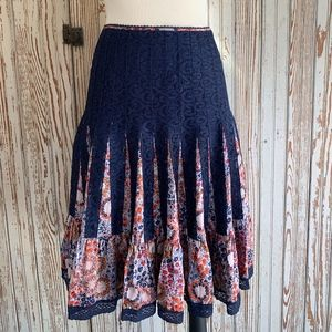 FREE PEOPLE FLORAL SILK AND LACE FULL SKIRT